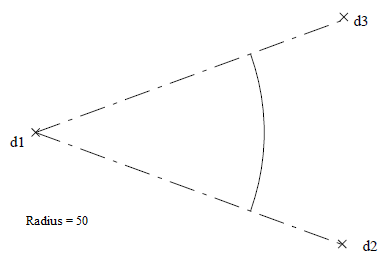 the radius is specified followed by the selection of the origin of the arc and then the selection of another two point locations that define the arcs