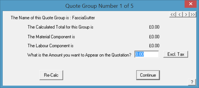 This image shows the quote groups in AppliCad Roof Wizard in AppliCad Roof Wizard https://www.applicad.com