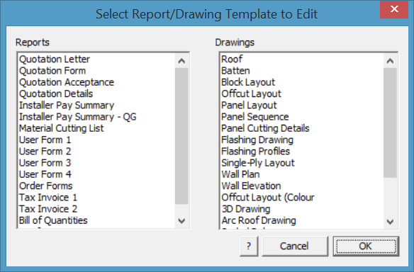 This image shows the Report/Drawing box in AppliCad Roof Wizard https://www.applicad.com
