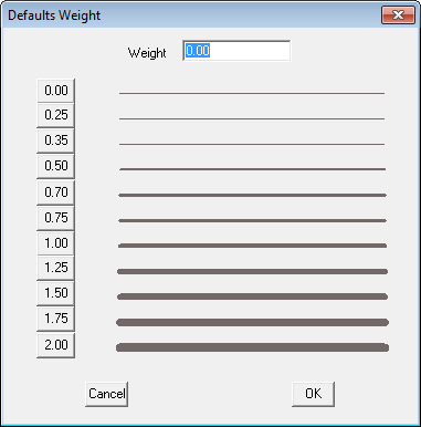 This image shows the Defaults Weight box in AppliCad Roof Wizard https://www.applicad,com