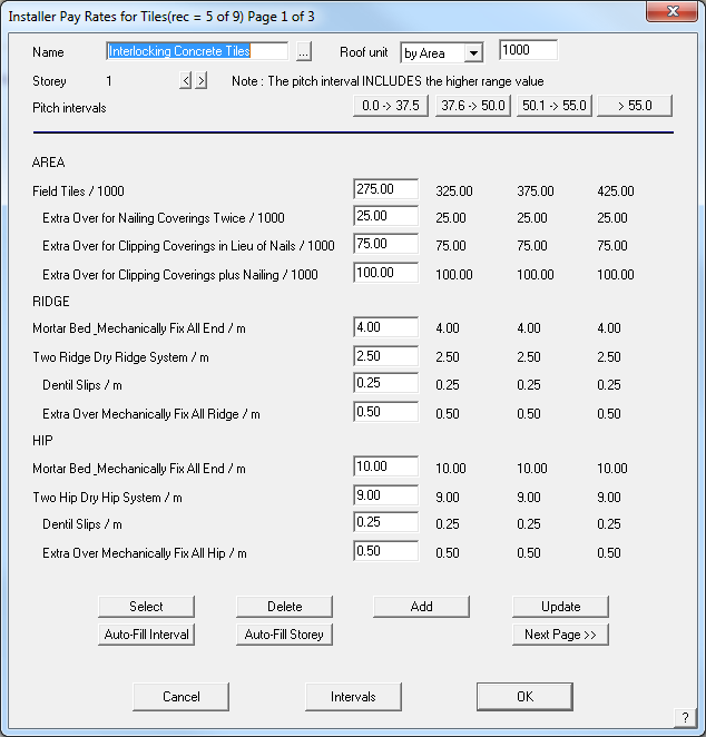 This image shows the Installer Pay Rates in ApplCad Roof Wizard https://www.applicad.com