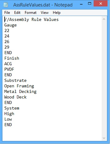 This image shows Assembly Rule Values in AppliCad Roof Wizard https://www.applicad.com