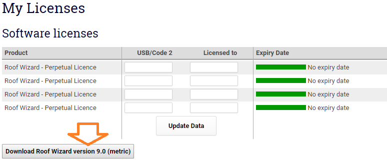 This image shows the Software licenses page in AppliCad Roof Wizard https://www.applicad.com