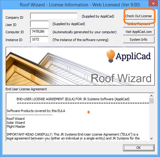 This image shows the information about the license in AppliCad Roof Wizard https://www.applicad.com
