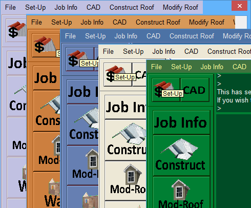This image shows the Main Menu in Different Colours in AppliCad Roof Wizard https://www.applicad.com