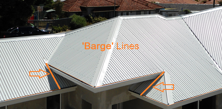 This image shows a roof with barge lines in AppliCad Roof Wizard https://www.applicad.com