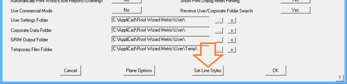 This image shows the Line Styles menu in AppliCad Roof Wizard https://www.applicad.com