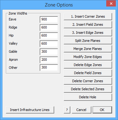 This image shows the Zone Options in AppliCad Roof Wizard https://www.applicad.com