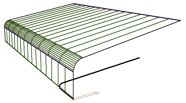 this image shows a simple bullnose roof shape in AppliCad Roof Wizard https://www.applicad.com