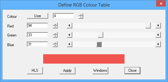 This image shows the RBG Colour Table in AppliCad Roof Wizard https://www.applicad.com