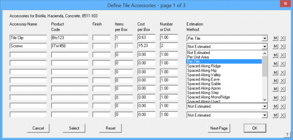 This image shows the Define Tile Accessories menu in AppliCad Roof Wizard https://www.applicad.com