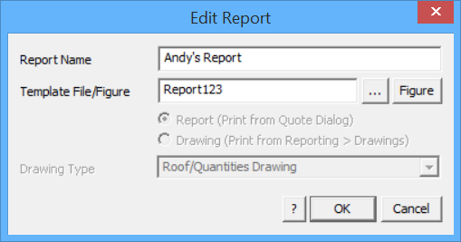 This image shows the Edit Report box in AppliCad Roof Wizard https://www.applicad.com