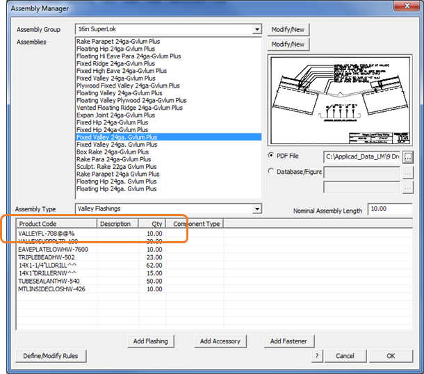 This image shows the Assembly Manager menu in AppliCad Roof Wizard https://www.applicad.com
