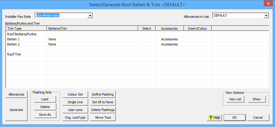 This image shows the Generate Roof Batten and Trim Menu in AppliCad Roof Wizard https://www.applicad.com