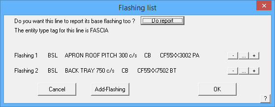 This image shows the Flashing List in AppliCad Roof Wizard https://www.applicad.com