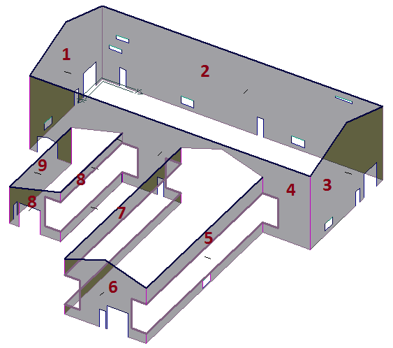 This image shows a model with Walls in AppliCad Roof Wizard https://www,.applicad.com