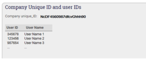 This image shows the Company ID and User ID in AppliCad Roof Wizard https://www.applicad.com