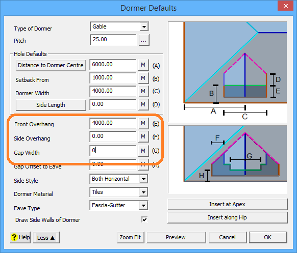 This image shows the Dormer Menu in AppliCad Roof Wizard https://www,applicad.com