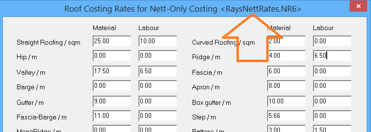 This image shows how nett costing can be named in AppliCad Roof Wizard https://www.applicad.com