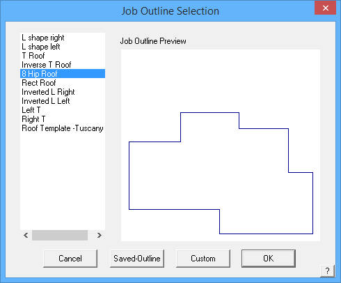 This image shows the Job Outline Selection Menu in AppliCad Roof Wizard https://www.applicad.com