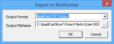 This image shows how to export to roll former in AppliCad Roof Wizard https://www.applicad.com