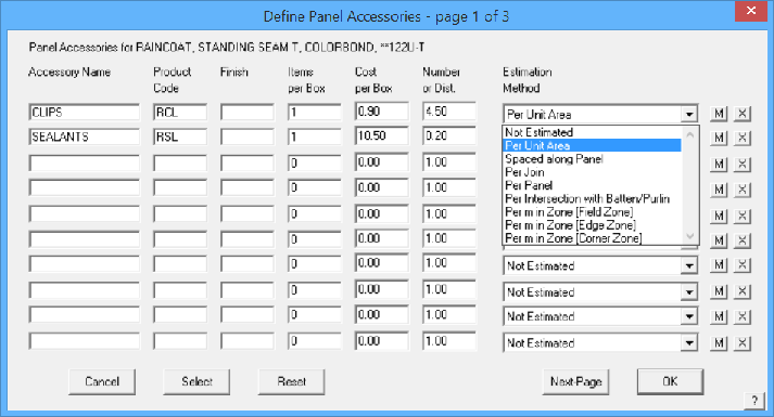 This image shows Define Panel Accesories in Applicad Roof Wizard httpss://www.applicad.com