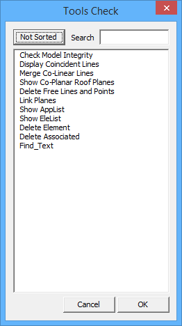 This image shows the tool check menu in AppliCad Roof Wizard https://www.applicad.com
