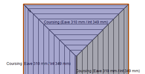 This image shows the Coursing Dimension function in AppliCad Roof Wizard https://www.applicad.com