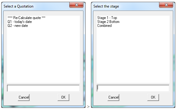 This image shows the Quotation and stage selection menu in AppliCad Roof Wizard https://www.applicad.com