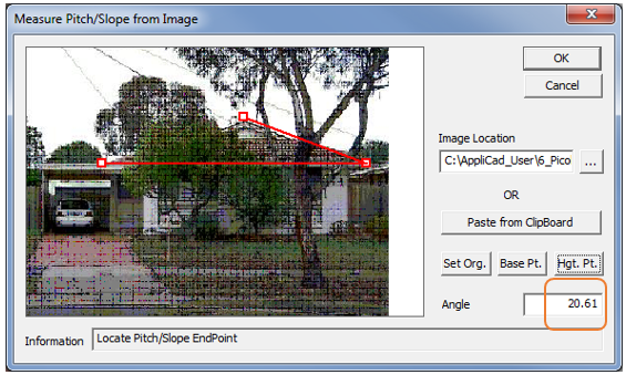 This image shows the measure pitch/slope from image menu in AppliCad Roof Wizard https://www.applicad.com