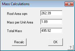 This image shows the mass calculations box in AppliCad Roof Wizard https://www.applicad.com