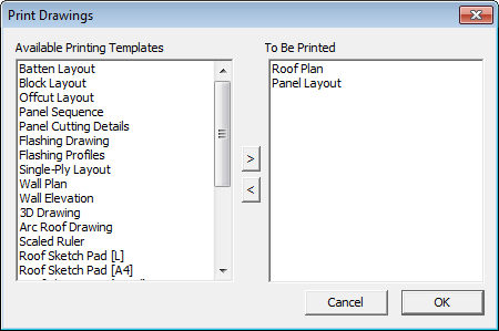 This image shows the Print Drawings in AppliCad Roof Wizard https://www.applicad.com