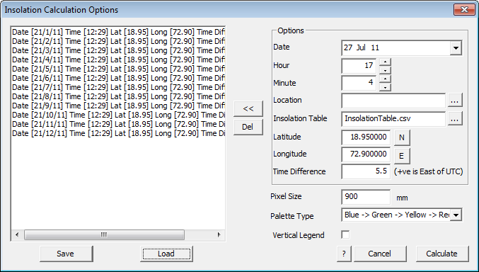 This image shows the insolation Calculation options menu in AppliCad Roof Wizard https://www.applicad.com