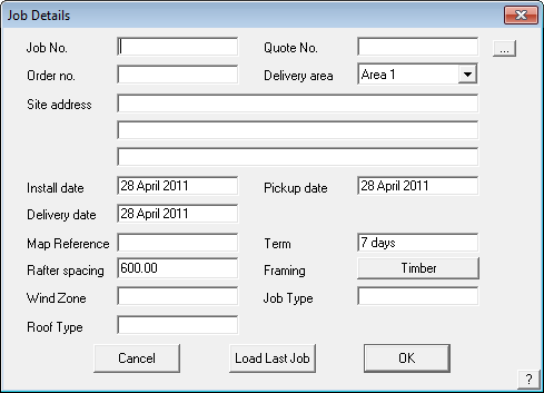 This image shows the Job Details box in AppliCad Roof Wizard Https://www.applicad.com
