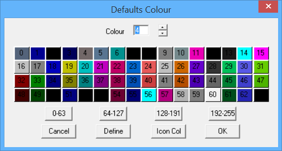 This image shows defaults colour menu in AppliCad Roof Wizard https://www.applicad.com