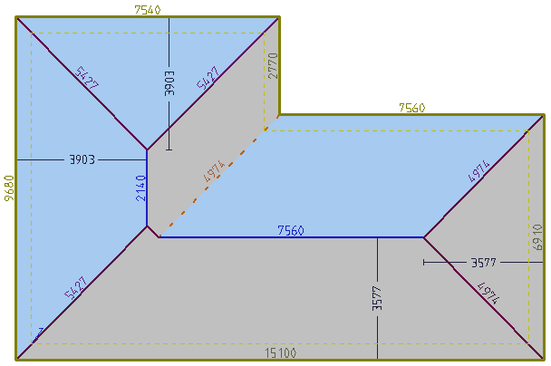 This image shows a 3D model with all dimensions in AppliCad Roof Wizard https://www.applicad.com