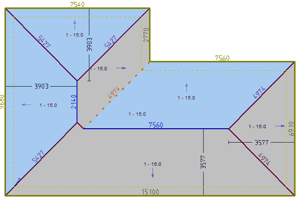 This image shows a 3D model with dimensions and pitch in AppliCad Roof Wizard https://www.applicad.com