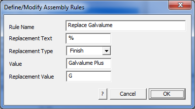 This image shows the Assembly rule menu in AppliCad Roof Wizard https://www.applicad.com