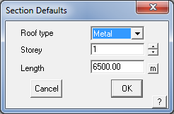This image shows the section defaults menu in AppliCad Roof Wizard https://www.applicad.com