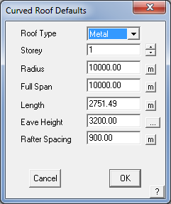 This image shows the Curved Roof defaults menu in AppliCad Roof Wizard https://www.applicad.com