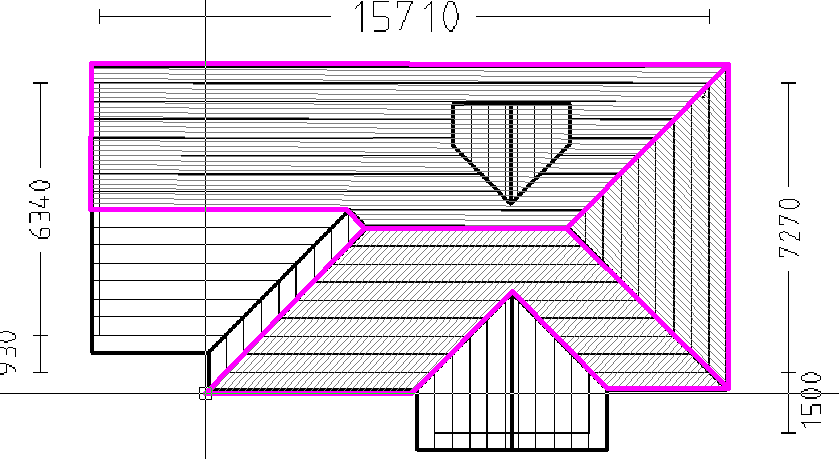 This image shows a Roof Model with a pink outline in AppliCad Roof Wizard https://www.applicad.com