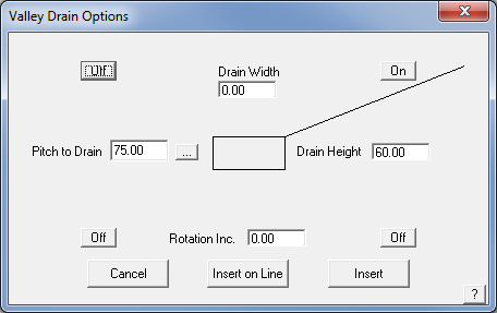 This image shows the Valley Drain Menu in AppliCad Roof Wizard https;//www.applicad.com