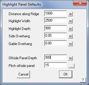This image shows the Highlight panel menu in AppliCad Roof Wizard https://www.applicad.com