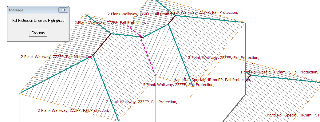 This image shows Fall Protection in a Roof Model in AppliCad Roof Wizard https://www.applicad.com