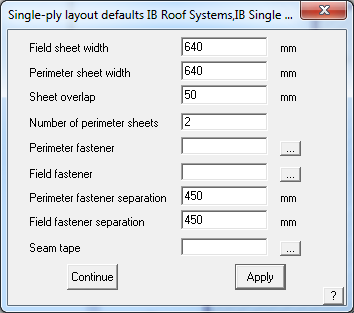 This image shows the Single-Ply Layout menu in AppliCad Roof Wizard https://www.applicad.com
