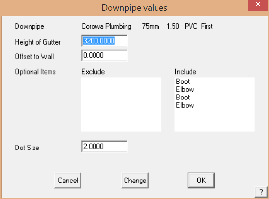 This image shows the Downpipe Values menu in AppliCad Roof Wizard https://www.applicad.com