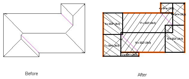 This image shows a before and after of the block generation in AppliCad Roof Wizard https://www.applicad.com
