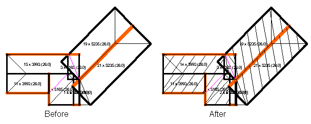 This image shows the show block feature with a before and after in AppliCad Roof Wizard https://www.applicad.com