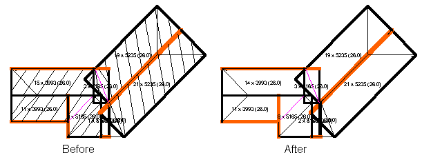 This image shows the hide block feature with a before and after in AppliCad Roof Wizard https://www.applicad.com