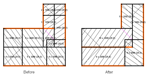 This image shows the Merge block feature with a before and after in AppliCad Roof Wizard https://www.applicad.com